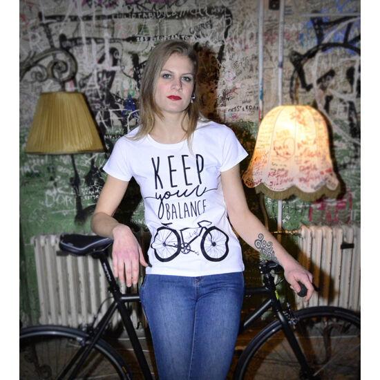 Keep your balance - Fehér rövid ujjú női póló