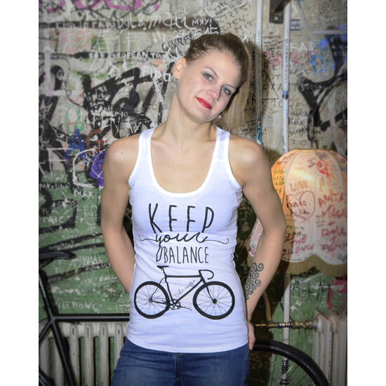 Keep your balance - Fehér ujjatlan női trikó